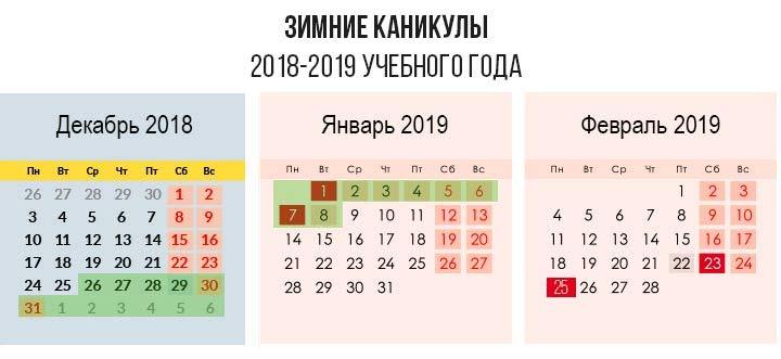 Каникулы в школе в 2019-2020 учебном году. Расписание