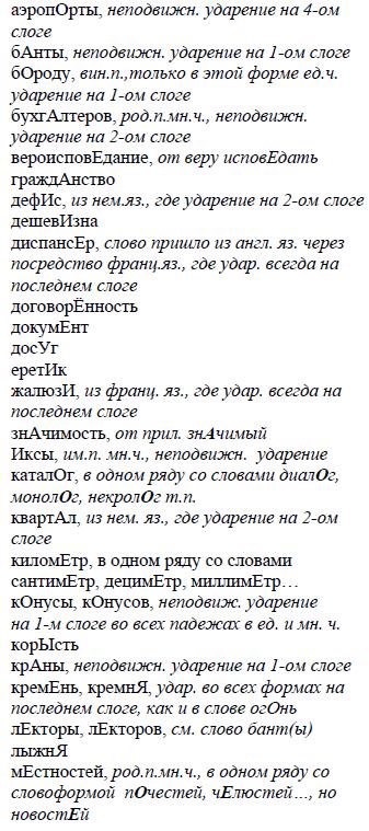 Орфоэпический минимум ЕГЭ в 2019 году: по русскому, список слов новые фото